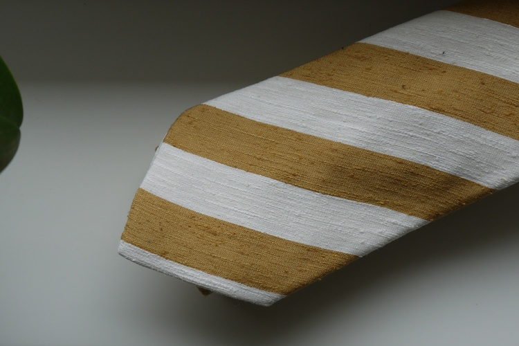 Regimental Shantung Tie - Yellow Mustard/White