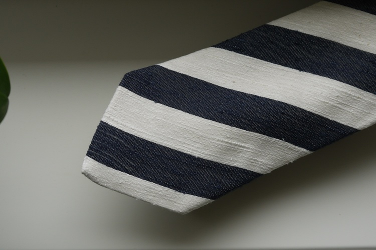 Regimental Shantung Tie - Navy Blue/White