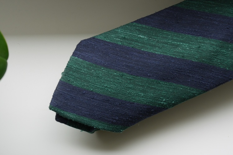 Regimental Shantung Tie - Dark Green/Navy Blue