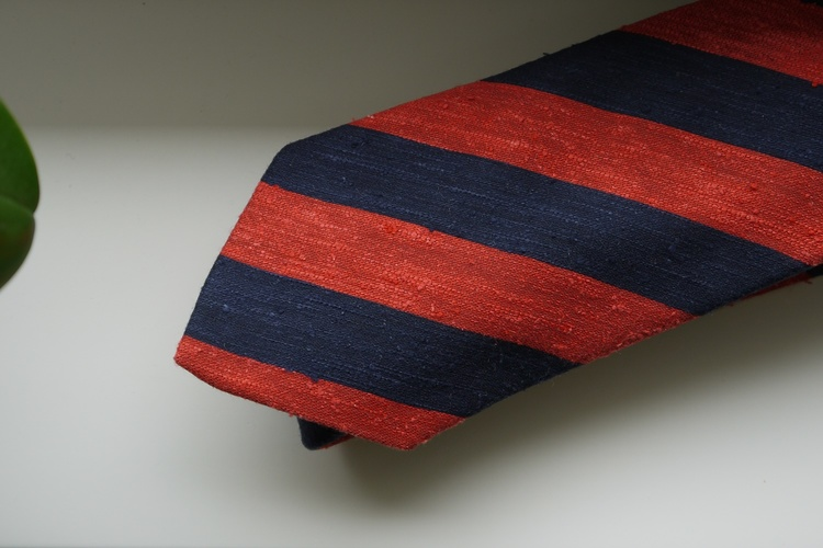 Regimental Shantung Tie - Orange Rust/Navy Blue