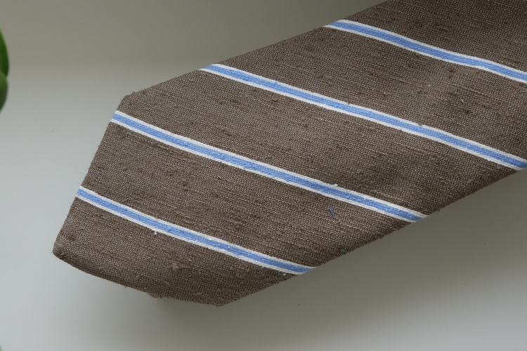 Regimental Shantung Tie - Beige/Light Blue
