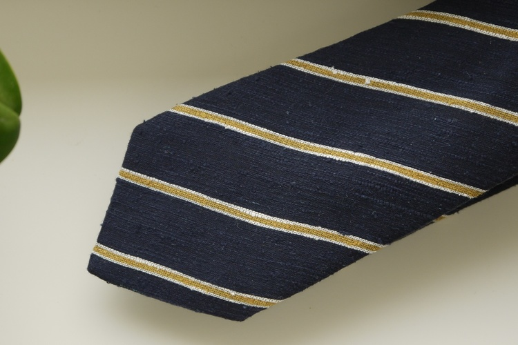 Regimental Shantung Tie - Navy Blue/Mustard Yellow