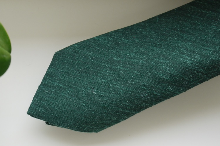 Solid Shantung Tie - Dark Green