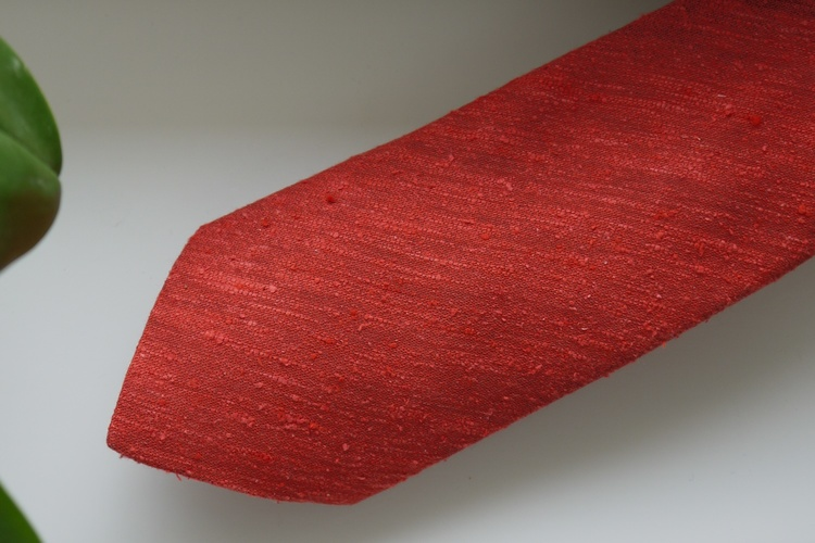 Solid Shantung Tie - Rust Orange