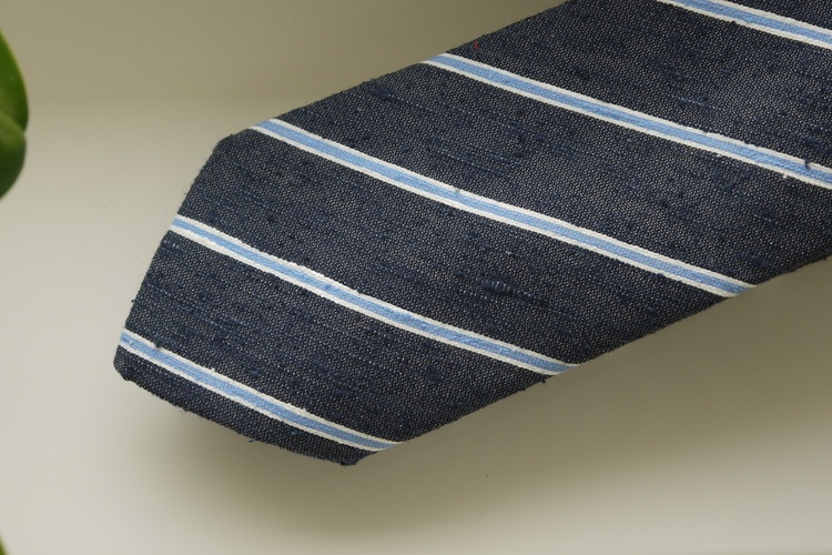 Regimental Shantung Tie - Navy Blue/Light Blue