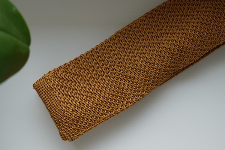 Solid Knitted Silk Tie - Mustard Yellow