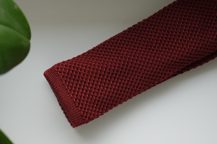 Solid Knitted Silk Tie - Rust Orange