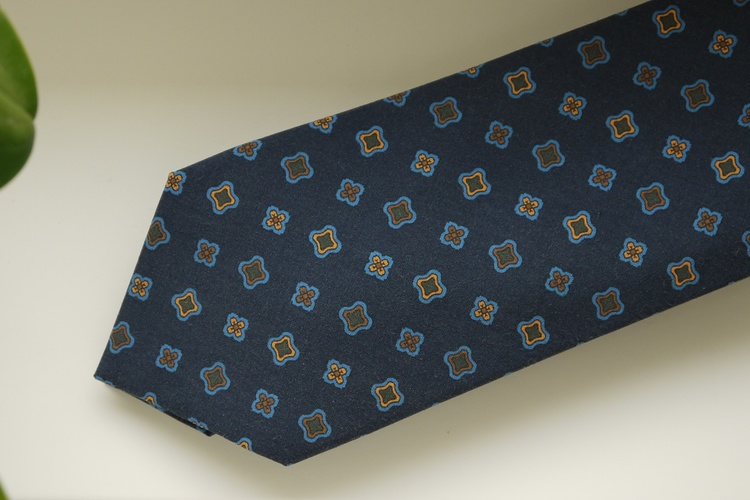 Medallion Madder Silk Tie - Navy Blue/Brown/Orange