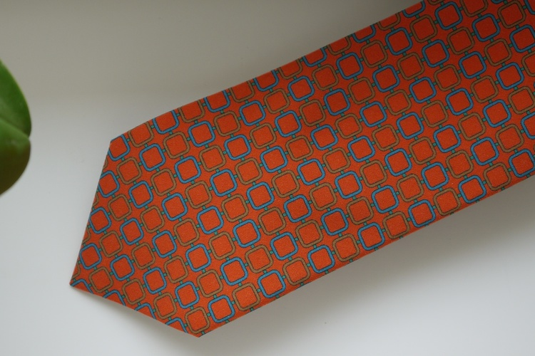 Square Madder Silk Tie - Orange/Beige/Turquoise