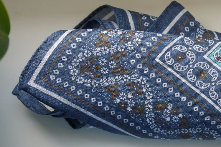 Floral Oriental Linen Pocket Square - Navy Blue/Brown/Turquoise