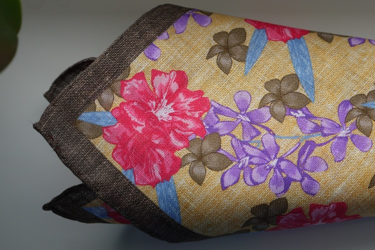 Large Floral Linen Pocket Square - Yellow/Brown/Pink