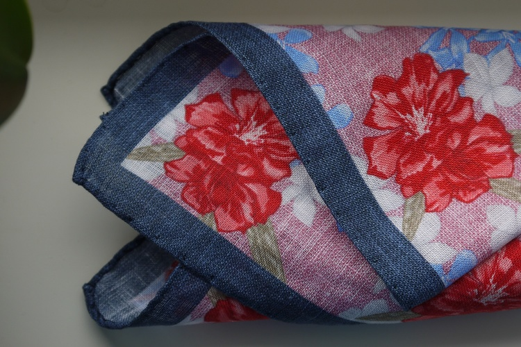 Large Floral Linen Pocket Square - Pink/Navy Blue/Apricot