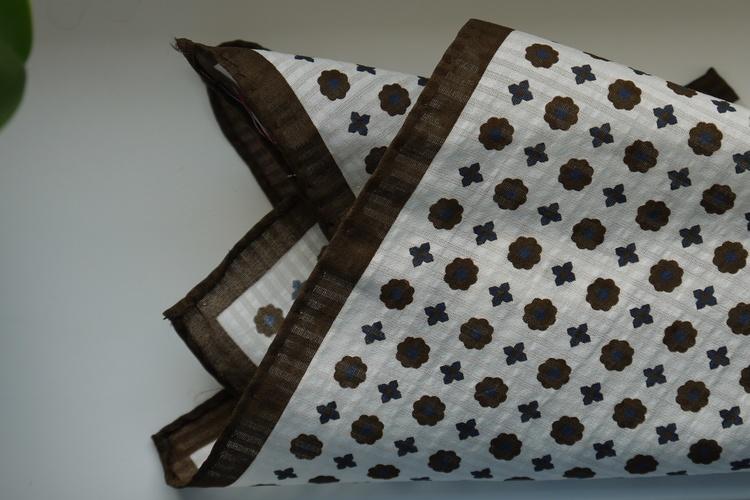 Floral Seersucker Cotton/Silk Pocket Square - Off White/Brown/Navy