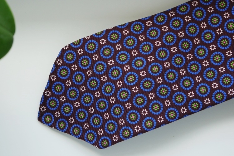 Floral Printed Silk Tie - Untipped - Burgundy/Navy Blue/Green