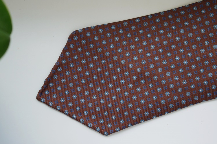 Floral Printed Silk Tie - Untipped - Rust Orange/Light Blue