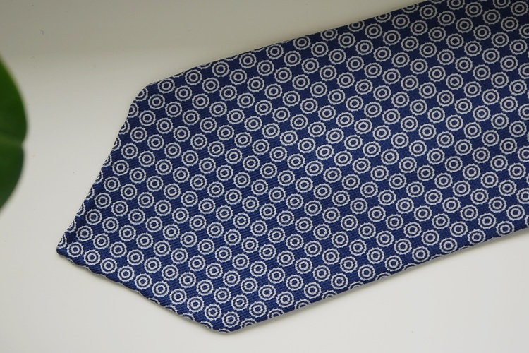Circle Printed Silk Tie - Untipped -  Navy Blue/White
