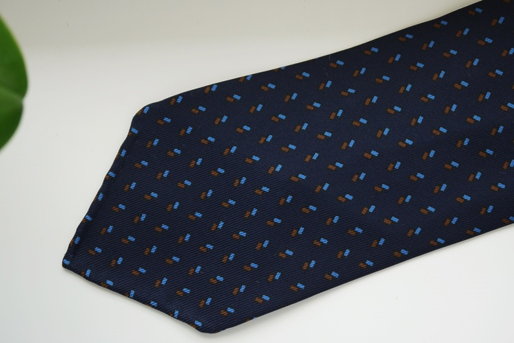 Micro Printed Silk Tie - Untipped - Navy Blue/Light Blue/Brown