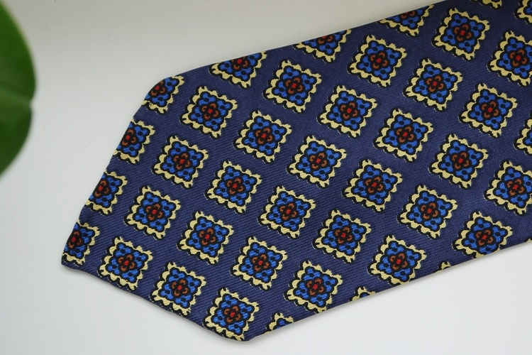 Medallion Printed Silk Tie - Untipped - Navy Blue/Light Blue/Yellow