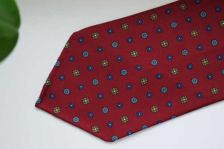 Floral Printed Silk Tie - Untipped -  Burgundy/Navy Blue/Beige