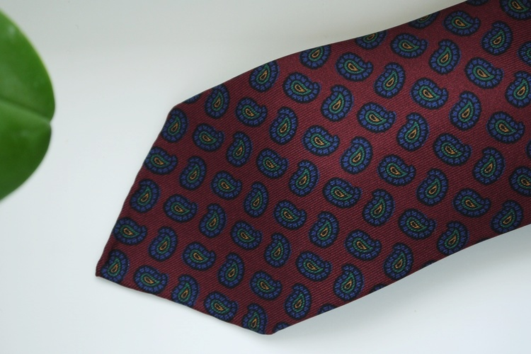 Paisley Printed Silk Tie - Untipped - Burgundy/Navy Blue/Green