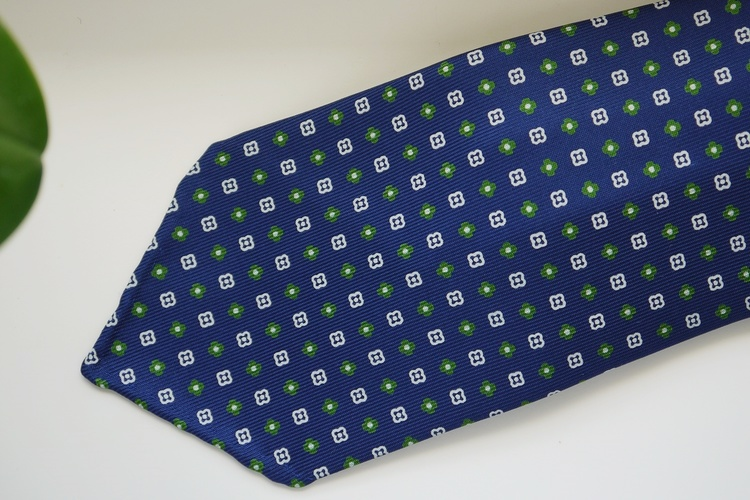 Floral Printed Silk Tie - Untipped - Navy Blue/Green