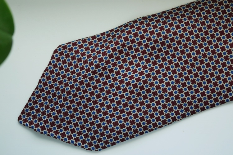 Micro Printed Silk Tie - Untipped - Burgundy/Beige/Navy Blue