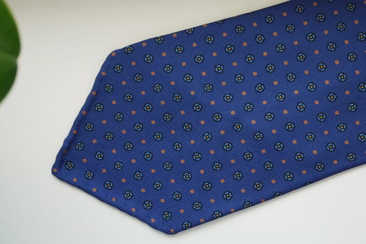 Floral Printed Silk Tie - Untipped - Mid Navy Blue/Pink
