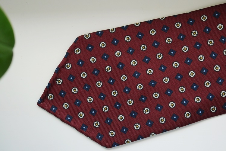 Floral Printed Silk Tie - Untipped - Burgundy/Navy Blue/Yellow