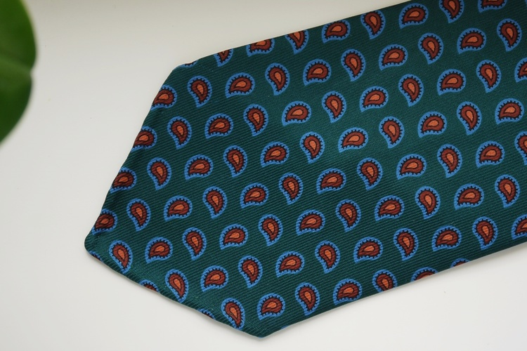 Paisley Ancient Madder Silk Tie - Untipped - Dark Green/Brown/Light Blue
