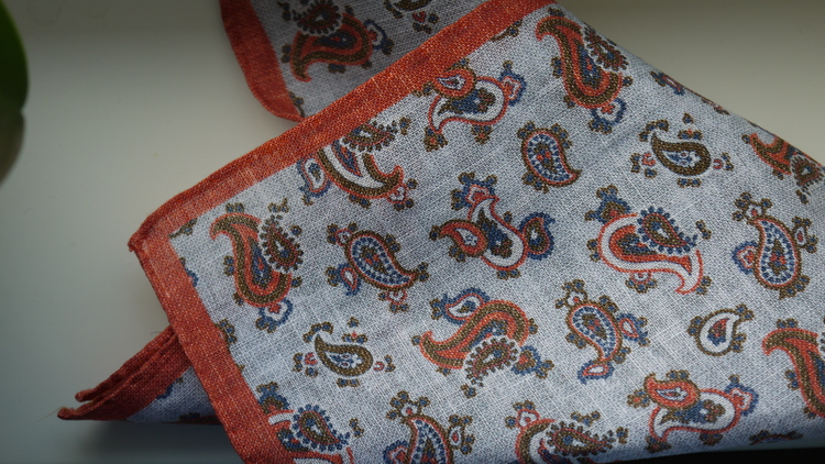 Paisley Linen Pocket Square - Light Blue/Red/Navy Blue