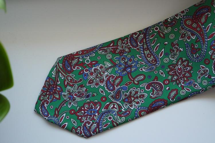 Paisley Printed Silk Tie - Green/Burgundy/Navy
