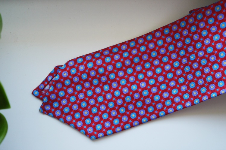Floral Printed Silk Tie - Red/Light Blue