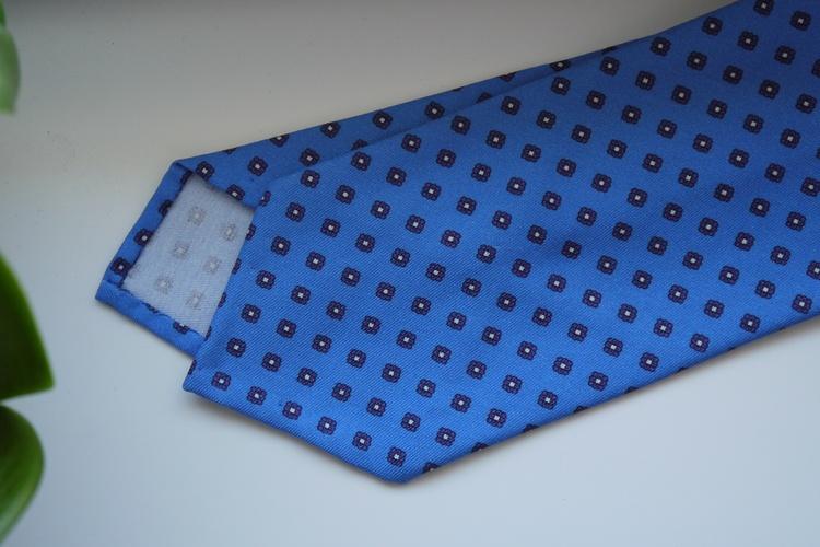 Floral Printed Cotton Silk Tie - Light Blue/Purple