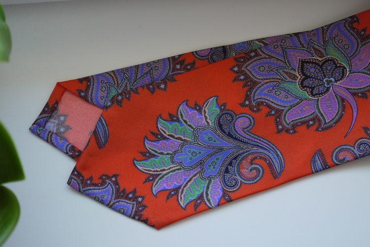 Oriental Printed Silk Tie - Orange/Purple/Green