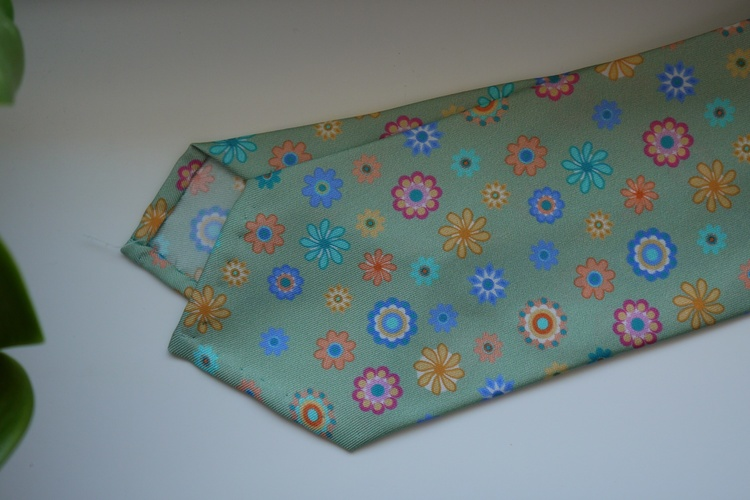 Floral Printed Silk Tie - Light Green/Blue/Orange