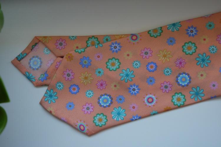 Floral Printed Silk Tie - Pink/Blue/Green