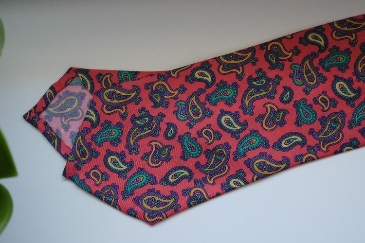 Paisley Printed Silk Tie - Peach/Green/Yellow