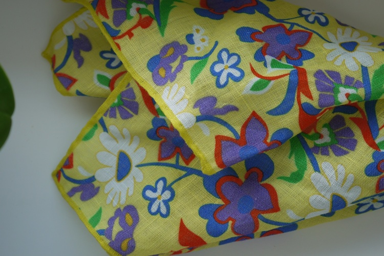 Large Floral Linen Pocket Square - Yellow/Purple/Green/Orange