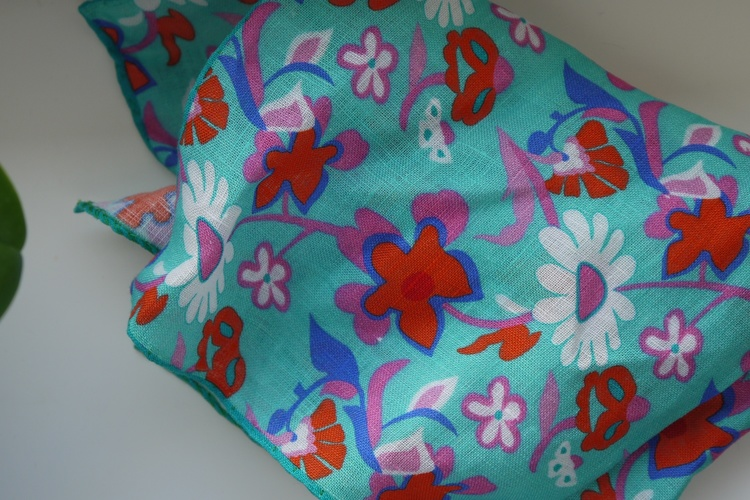 Large Floral Linen Pocket Square - Turquoise/Orange/Purple/Blue