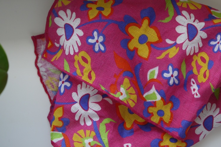 Large Floral Linen Pocket Square - Cerise/Yellow/Navy Blue/White