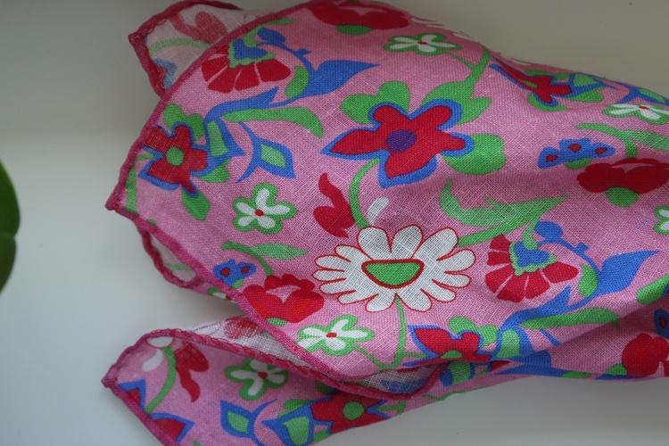 Large Floral Linen Pocket Square - Pink/Red/Green/Blue