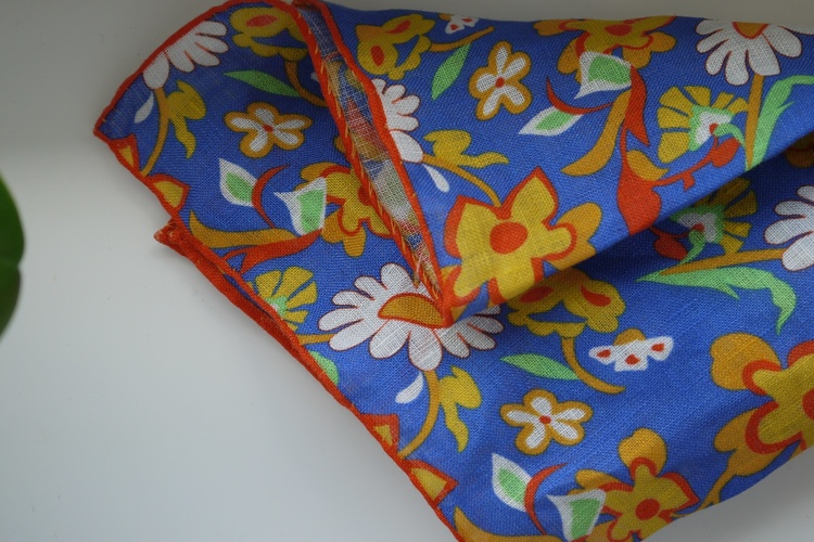 Large Floral Linen Pocket Square - Navy Blue/Orange/Yellow/Green
