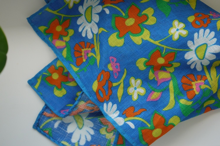 Large Floral Linen Pocket Square - Mid Blue/Orange/Yellow/White