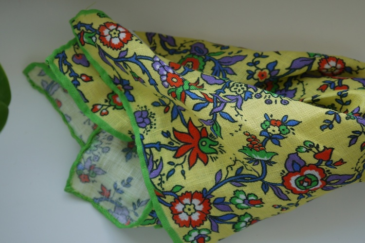 Small Floral Linen Pocket Square - Yellow/Orange/Blue/Green