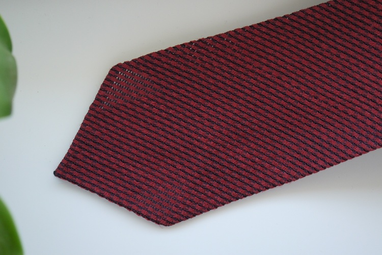 Solid Linen/Silk Grenadine Tie - Untipped - Burgundy