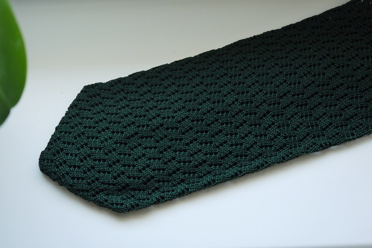 Zigzag Solid Knitted Silk Tie - Dark Green