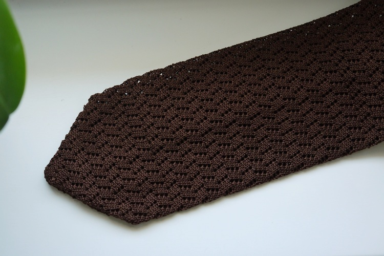 Zigzag Solid Knitted Silk Tie - Dark Brown