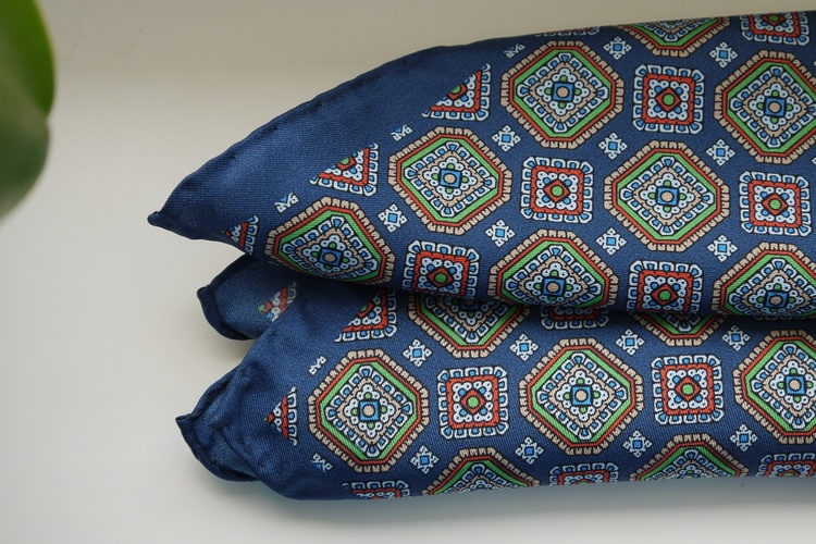 Medallion Silk Pocket Square - Navy Blue/Green/Red/Beige