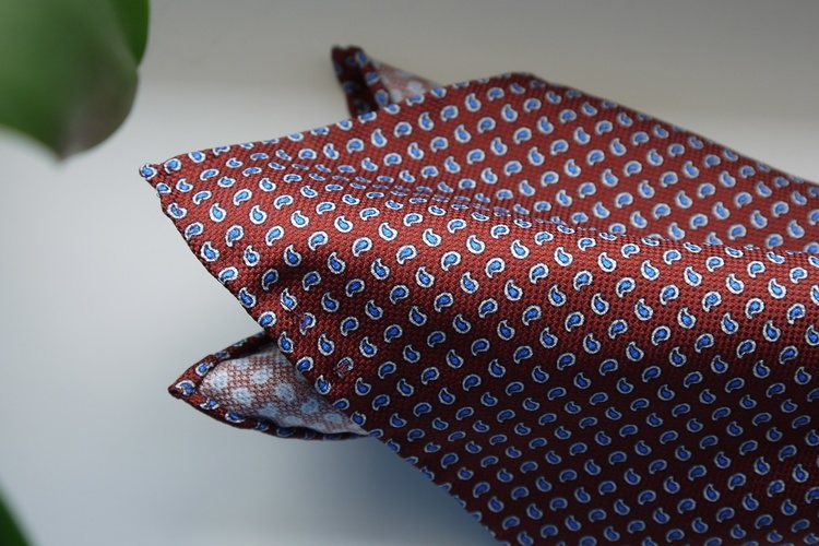 Paisley Silk Pocket Square - Rust Orange/Light Blue/White