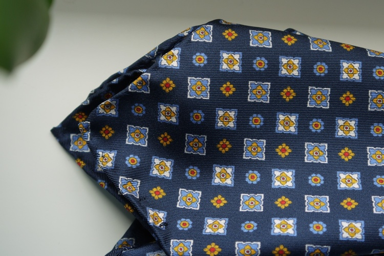 Floral Silk Pocket Square - Navy Blue/Light Blue/Yellow